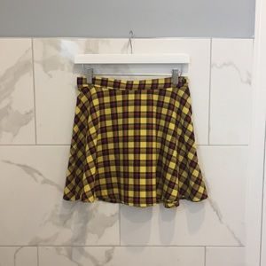 American Apparel | Yellow Plaid Highrise Skirt